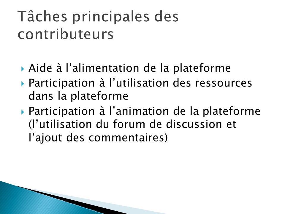 Aide à lalimentation de la plateforme Participation à lutilisation des ressources dans la plateforme Participation à lanimation de la plateforme (lutilisation du forum de discussion et lajout des commentaires)