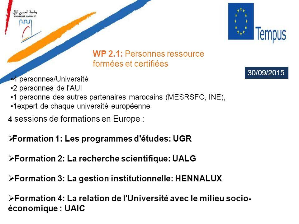 WP 2.1: Personnes ressource formées et certifiées 4 sessions de formations en Europe : Formation 1: Les programmes d'études: UGR Formation 2: La reche