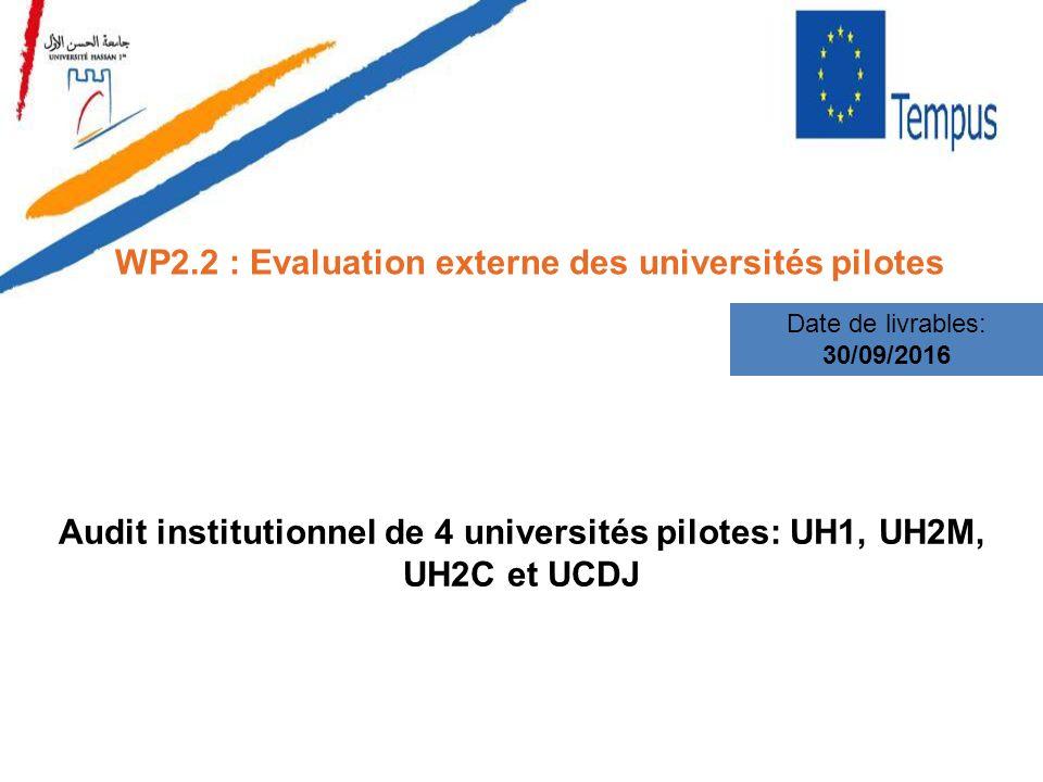 WP2.2 : Evaluation externe des universités pilotes Date de livrables: 30/09/2016 Audit institutionnel de 4 universités pilotes: UH1, UH2M, UH2C et UCD
