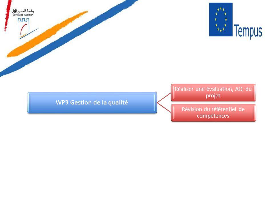 WP3 Gestion de la qualité Réaliser une évaluation, AQ du projet Révision du référentiel de compétences