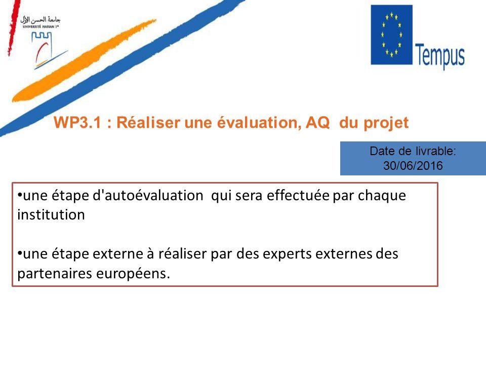 WP3.1 : Réaliser une évaluation, AQ du projet Date de livrable: 30/06/2016 une étape d'autoévaluation qui sera effectuée par chaque institution une ét