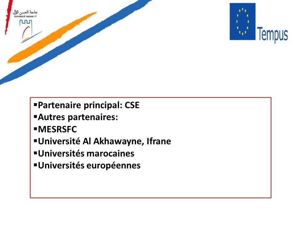 Partenaire principal: CSE Autres partenaires: MESRSFC Université Al Akhawayne, Ifrane Universités marocaines Universités européennes
