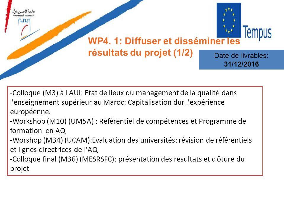 WP4. 1: Diffuser et disséminer les résultats du projet (1/2) Date de livrables: 31/12/2016 -Colloque (M3) à l'AUI: Etat de lieux du management de la q