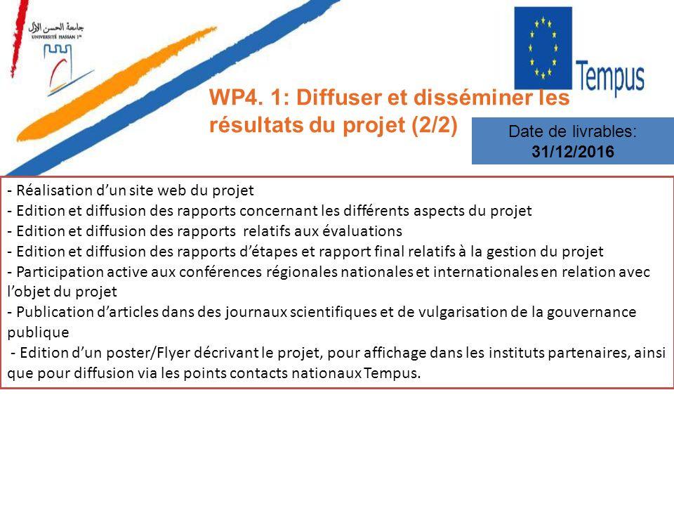 WP4. 1: Diffuser et disséminer les résultats du projet (2/2) Date de livrables: 31/12/2016 - Réalisation dun site web du projet - Edition et diffusion