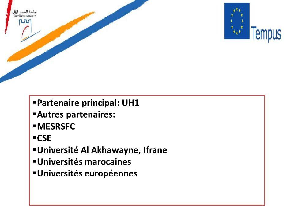 Partenaire principal: UH1 Autres partenaires: MESRSFC CSE Université Al Akhawayne, Ifrane Universités marocaines Universités européennes
