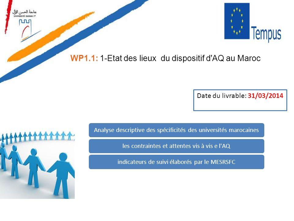 WP1.1: 1-Etat des lieux du dispositif d'AQ au Maroc Analyse descriptive des spécificités des universités marocainesles contraintes et attentes vis à v