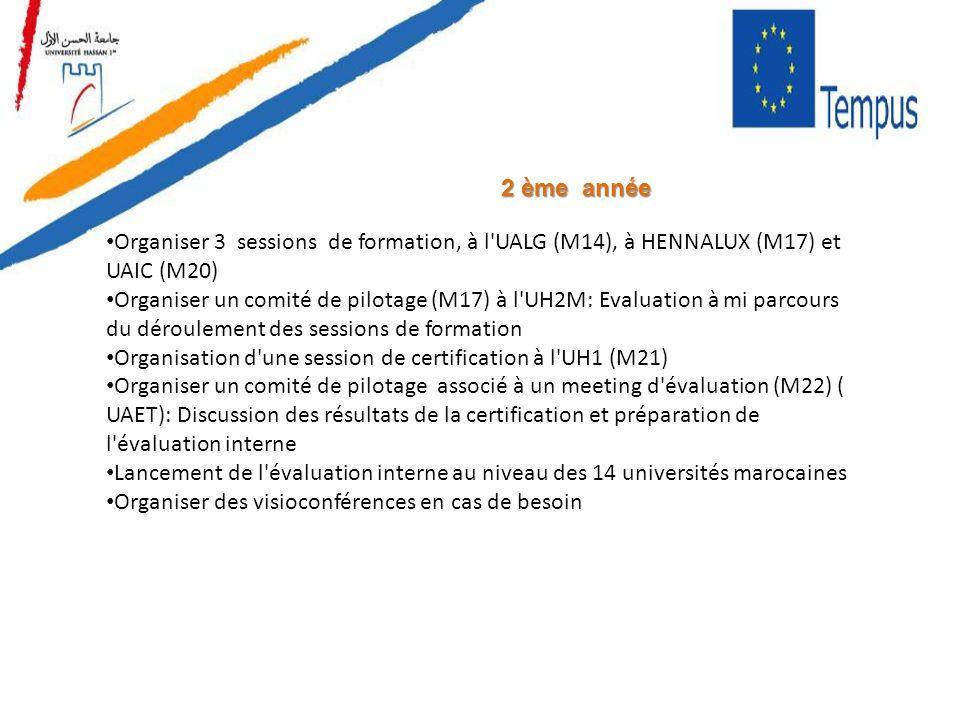 2 ème année Organiser 3 sessions de formation, à l'UALG (M14), à HENNALUX (M17) et UAIC (M20) Organiser un comité de pilotage (M17) à l'UH2M: Evaluati