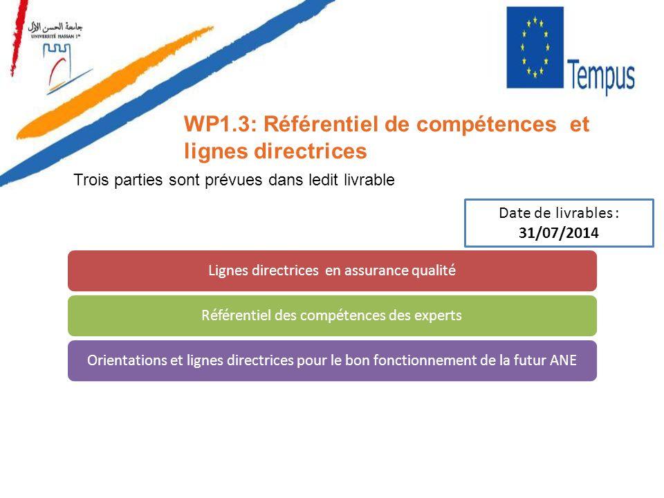 WP1.3: Référentiel de compétences et lignes directrices Lignes directrices en assurance qualitéRéférentiel des compétences des expertsOrientations et
