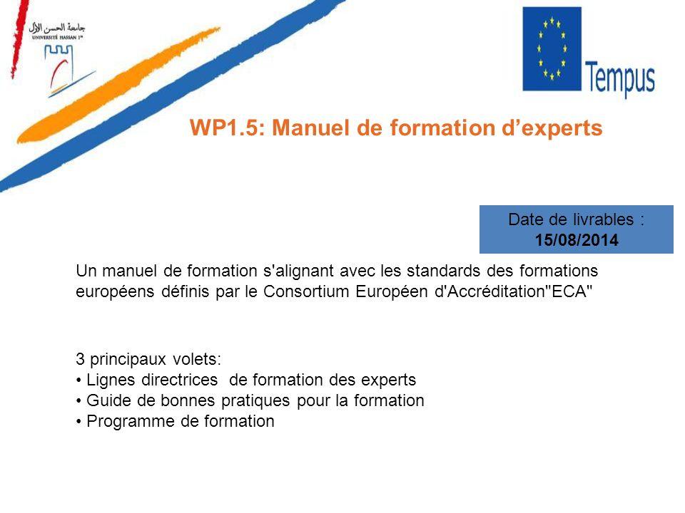 WP1.5: Manuel de formation dexperts Date de livrables : 15/08/2014 Un manuel de formation s'alignant avec les standards des formations européens défin