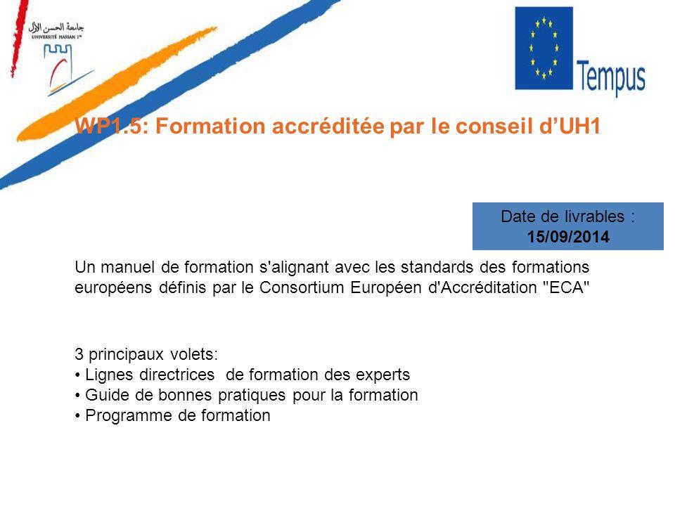 WP1.5: Formation accréditée par le conseil dUH1 Date de livrables : 15/09/2014 Un manuel de formation s'alignant avec les standards des formations eur