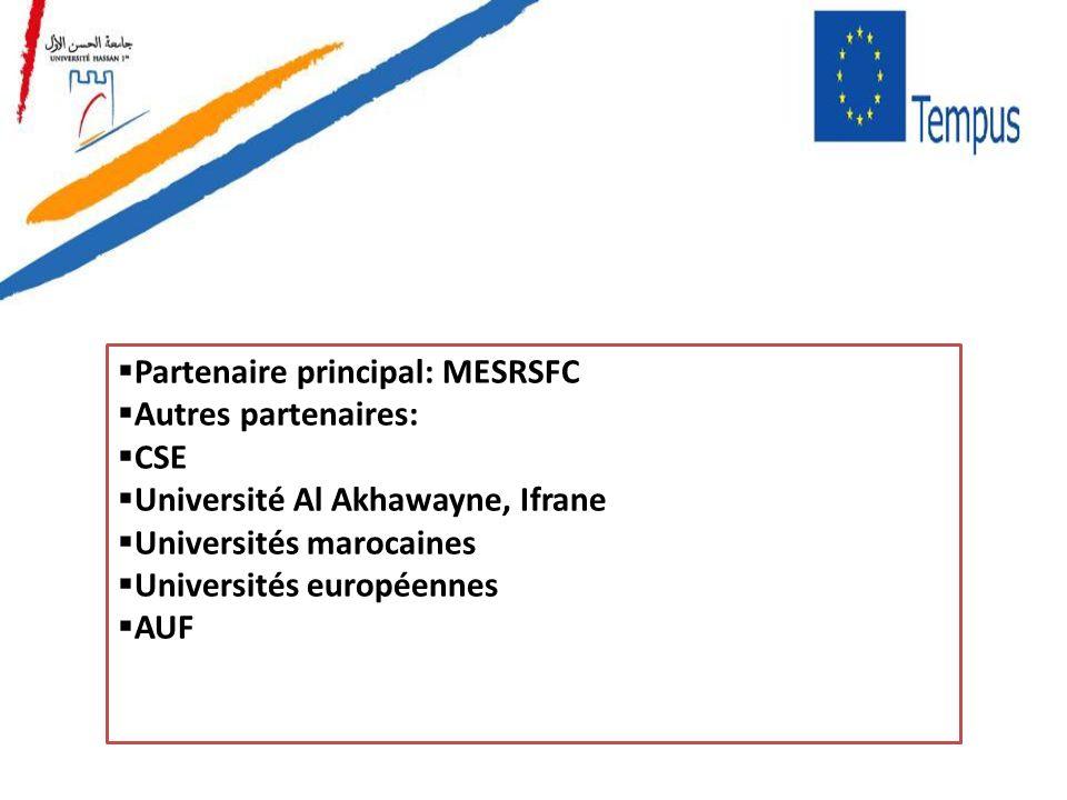 Partenaire principal: MESRSFC Autres partenaires: CSE Université Al Akhawayne, Ifrane Universités marocaines Universités européennes AUF