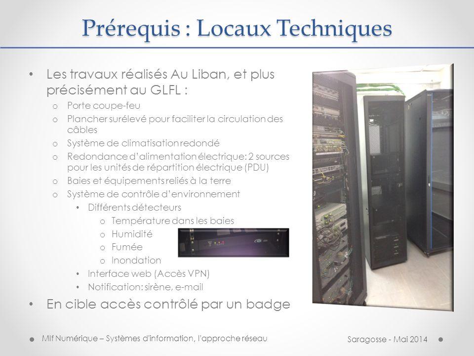 Mlf Numérique – Systèmes d information, l approche réseau Saragosse - Mai 2014 Prérequis : Alimentation électrique Salle climatisée (drainage externe), faux plancher..