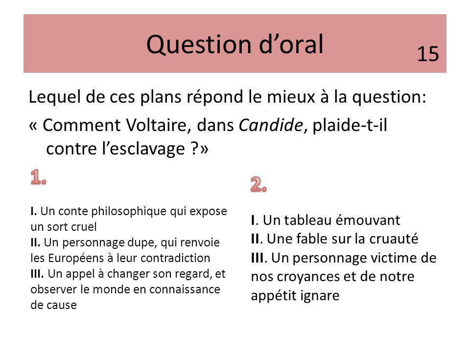 Question doral Lequel de ces plans répond le mieux à la question: « Comment Voltaire, dans Candide, plaide-t-il contre lesclavage ?» 15