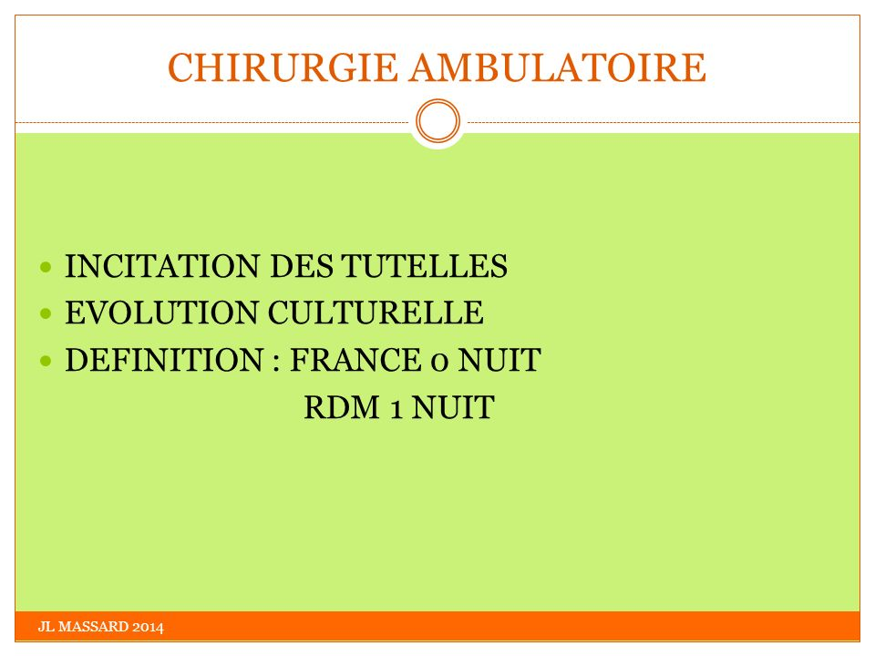 CHIRURGIE AMBULATOIRE JL MASSARD 2014 INCITATION DES TUTELLES EVOLUTION CULTURELLE DEFINITION : FRANCE 0 NUIT RDM 1 NUIT