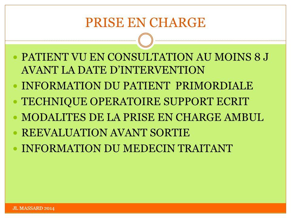 PRISE EN CHARGE JL MASSARD 2014 PATIENT VU EN CONSULTATION AU MOINS 8 J AVANT LA DATE DINTERVENTION INFORMATION DU PATIENT PRIMORDIALE TECHNIQUE OPERA