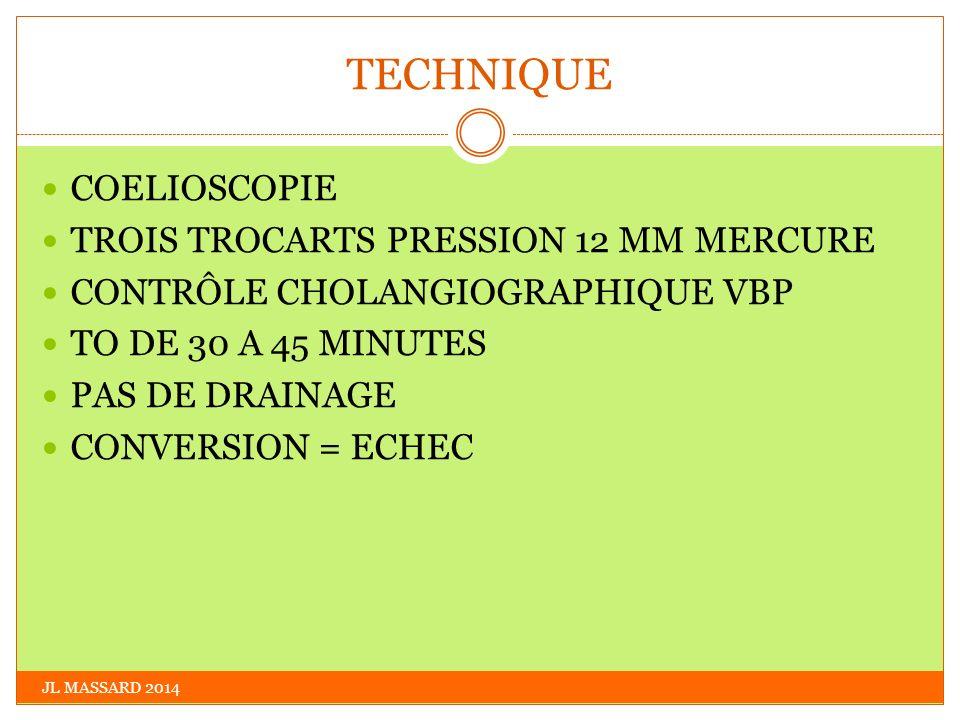 TECHNIQUE JL MASSARD 2014 COELIOSCOPIE TROIS TROCARTS PRESSION 12 MM MERCURE CONTRÔLE CHOLANGIOGRAPHIQUE VBP TO DE 30 A 45 MINUTES PAS DE DRAINAGE CON