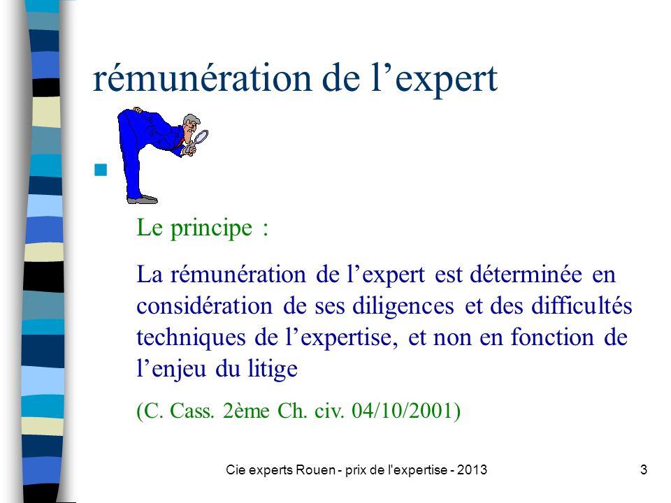Cie experts Rouen - prix de l'expertise - 20133 rémunération de lexpert n Le principe : La rémunération de lexpert est déterminée en considération de