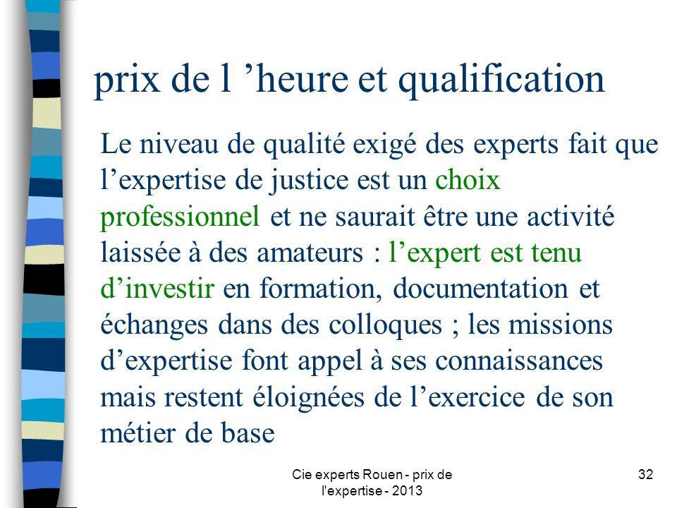 Cie experts Rouen - prix de l'expertise - 2013 32 prix de l heure et qualification Le niveau de qualité exigé des experts fait que lexpertise de justi