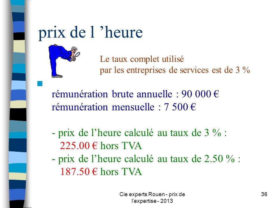 Cie experts Rouen - prix de l'expertise - 2013 36 prix de l heure n rémunération brute annuelle : 90 000 rémunération mensuelle : 7 500 - prix de lheu
