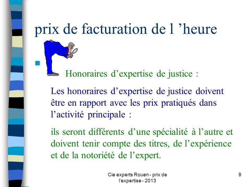 Cie experts Rouen - prix de l'expertise - 2013 9 prix de facturation de l heure n Honoraires dexpertise de justice : Les honoraires dexpertise de just