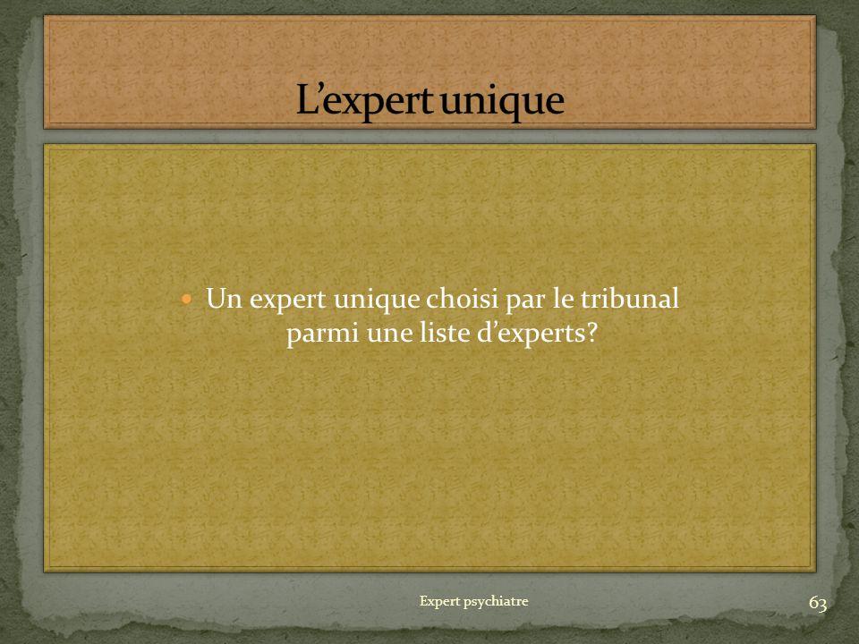 Un expert unique choisi par le tribunal parmi une liste dexperts? 63 Expert psychiatre