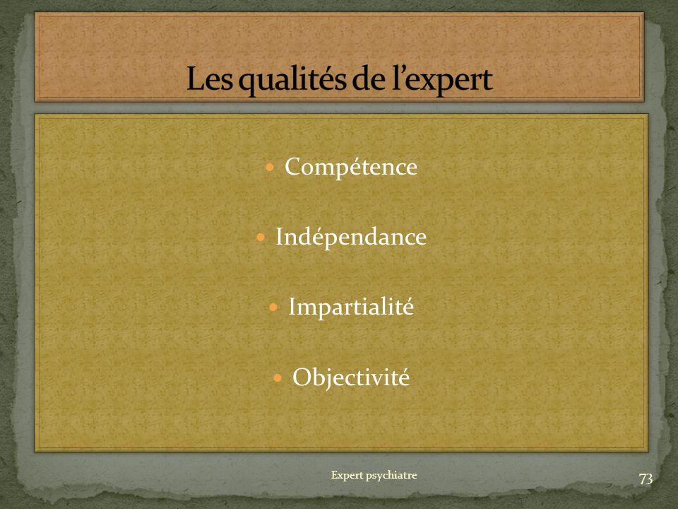Compétence Indépendance Impartialité Objectivité Compétence Indépendance Impartialité Objectivité 73 Expert psychiatre