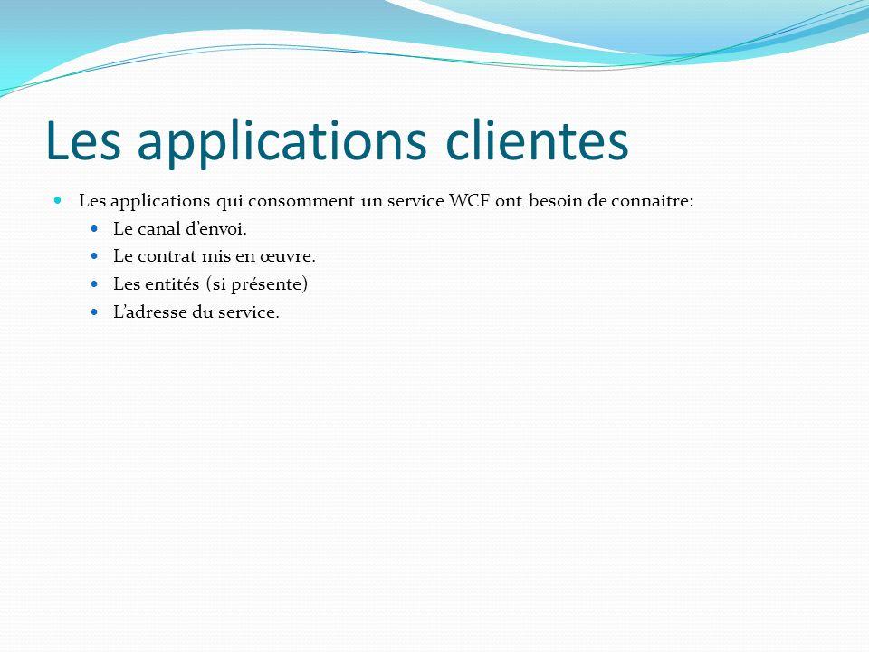 Les applications clientes Les applications qui consomment un service WCF ont besoin de connaitre: Le canal denvoi.