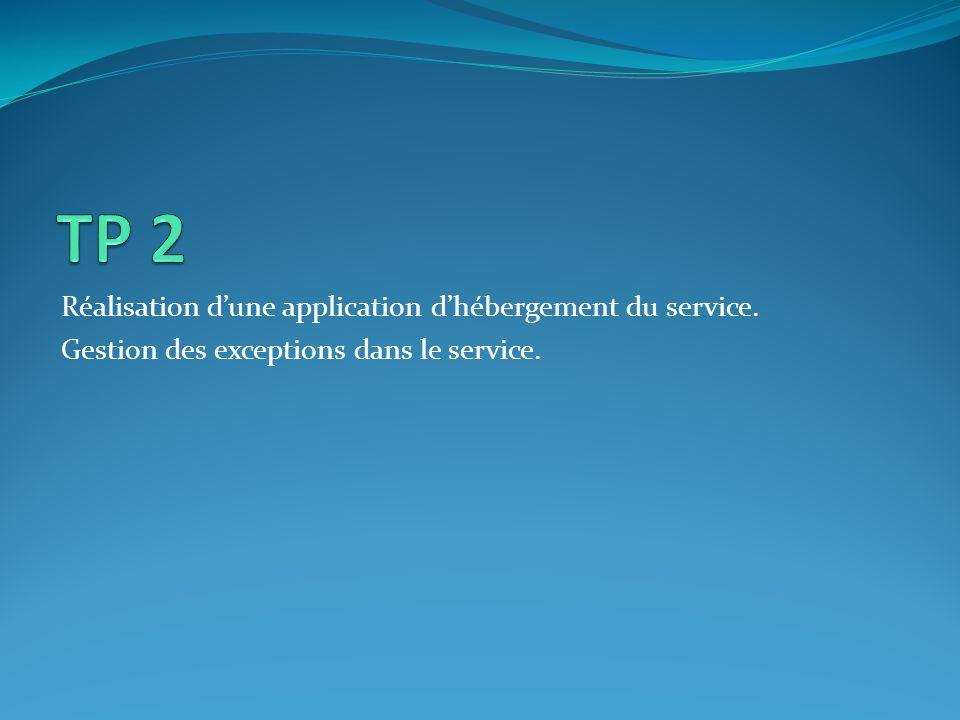 Réalisation dune application dhébergement du service. Gestion des exceptions dans le service.