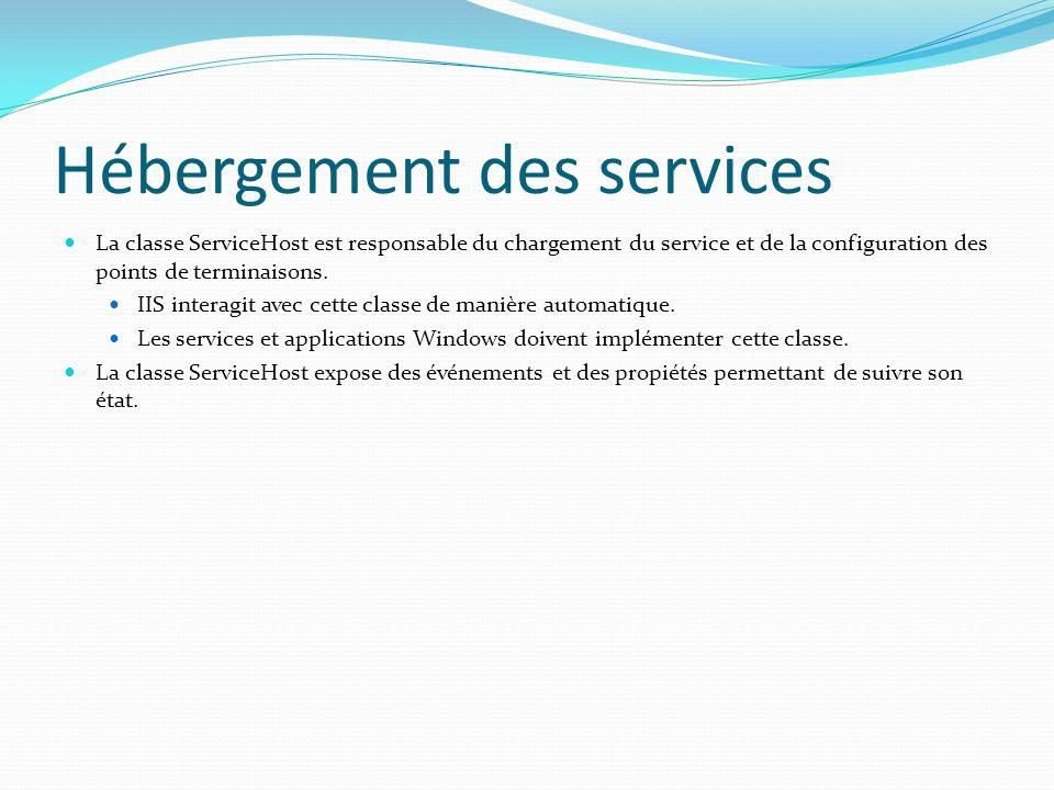 Hébergement des services La classe ServiceHost est responsable du chargement du service et de la configuration des points de terminaisons.