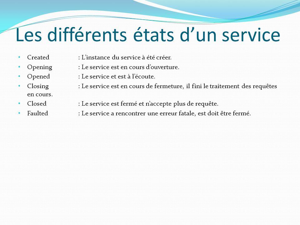 Les différents états dun service Created : Linstance du service à été créer.