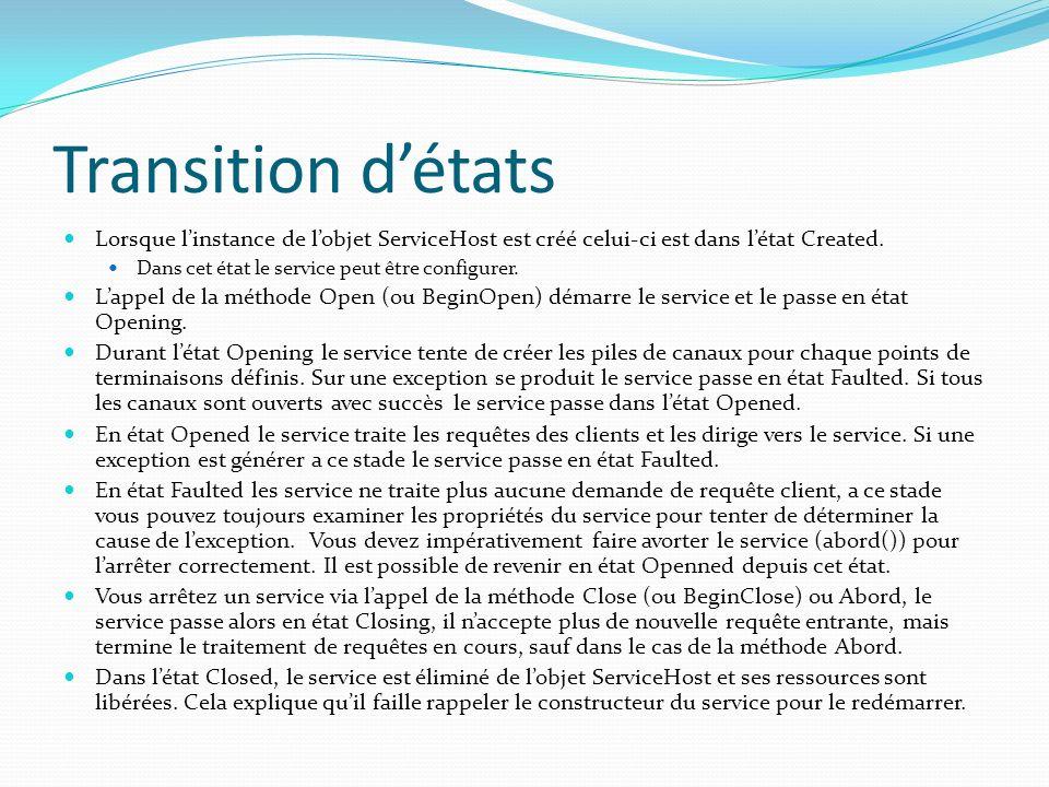 Transition détats Lorsque linstance de lobjet ServiceHost est créé celui-ci est dans létat Created.