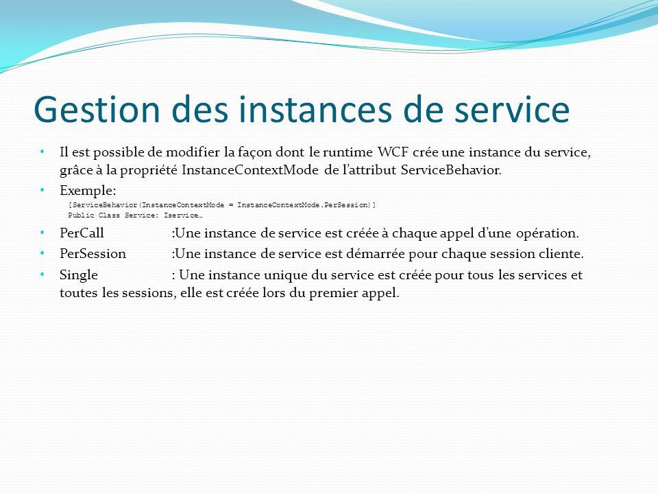 Gestion des instances de service Il est possible de modifier la façon dont le runtime WCF crée une instance du service, grâce à la propriété InstanceContextMode de lattribut ServiceBehavior.