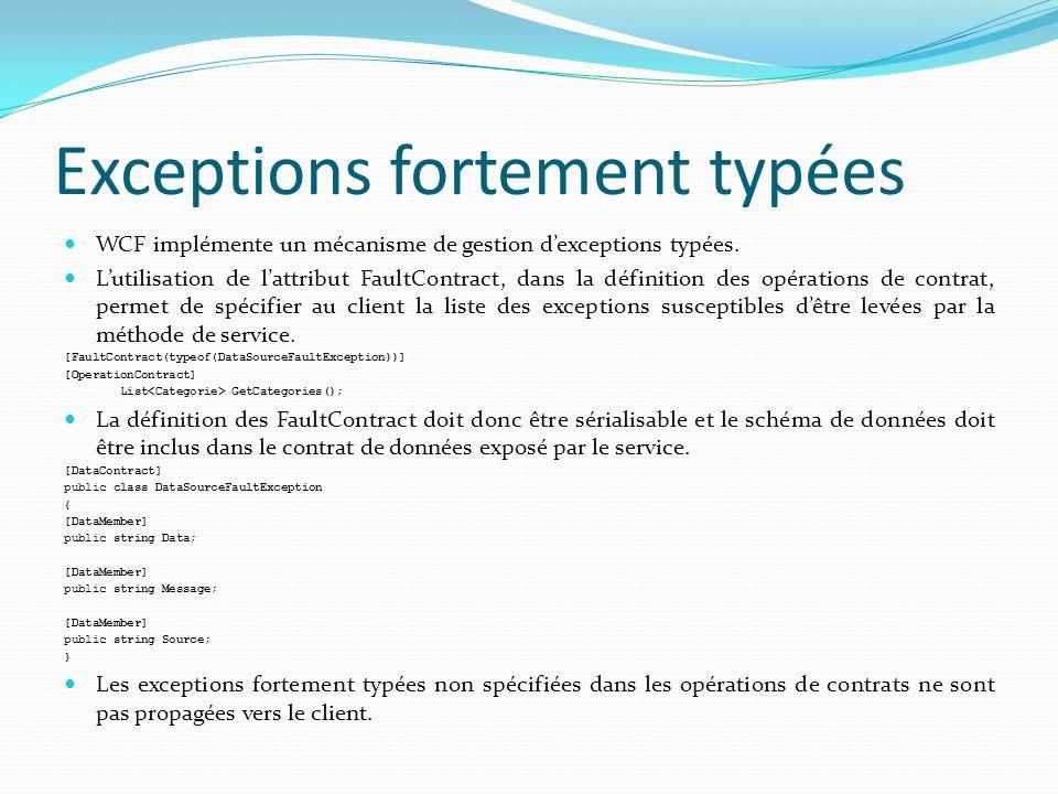 Exceptions fortement typées WCF implémente un mécanisme de gestion dexceptions typées.