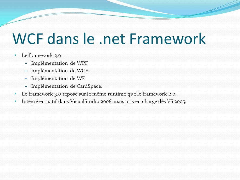 WCF dans le.net Framework Le framework 3.0 – Implémentation de WPF.