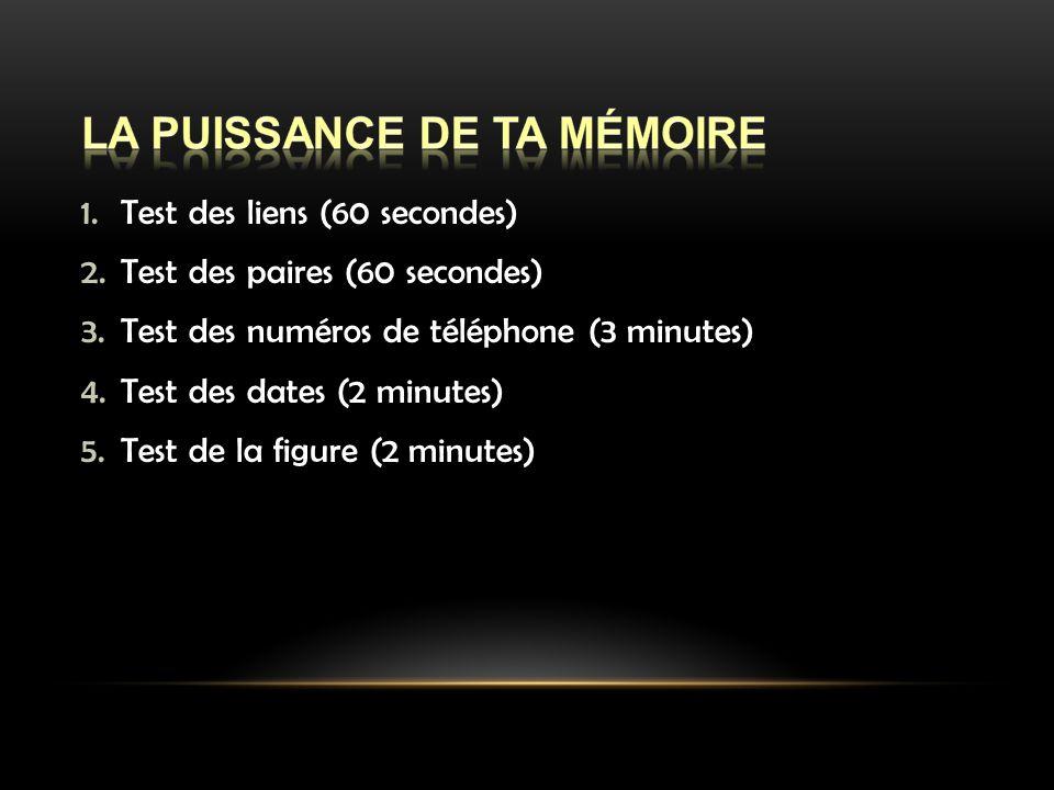 1.Test des liens (60 secondes) 2.Test des paires (60 secondes) 3.Test des numéros de téléphone (3 minutes) 4.Test des dates (2 minutes) 5.Test de la f