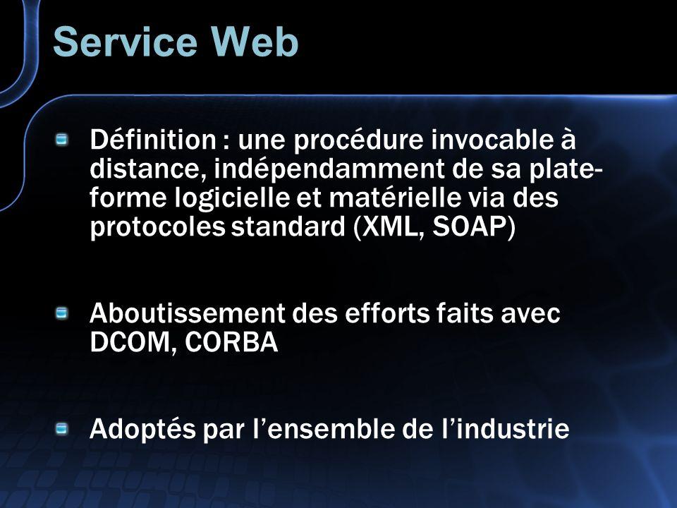 Service Web Définition : une procédure invocable à distance, indépendamment de sa plate- forme logicielle et matérielle via des protocoles standard (XML, SOAP) Aboutissement des efforts faits avec DCOM, CORBA Adoptés par lensemble de lindustrie