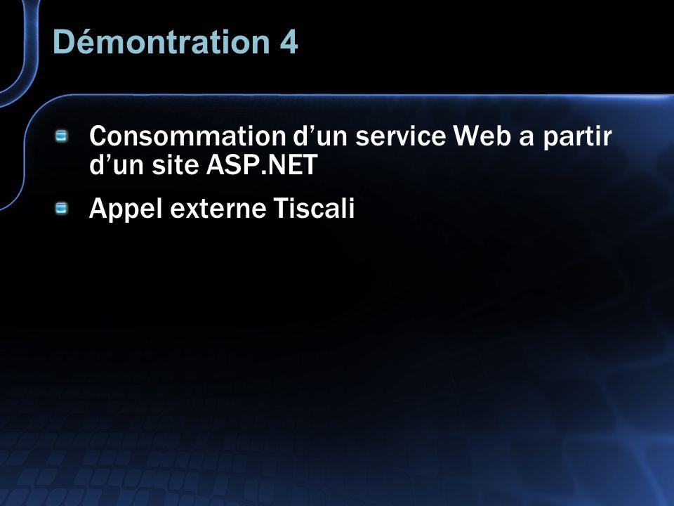 Démontration 4 Consommation dun service Web a partir dun site ASP.NET Appel externe Tiscali