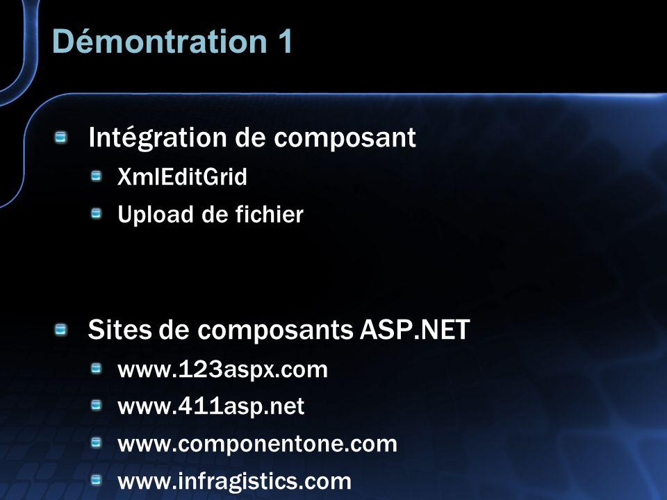 Démontration 1 Intégration de composant XmlEditGrid Upload de fichier Sites de composants ASP.NET www.123aspx.com www.411asp.net www.componentone.com www.infragistics.com
