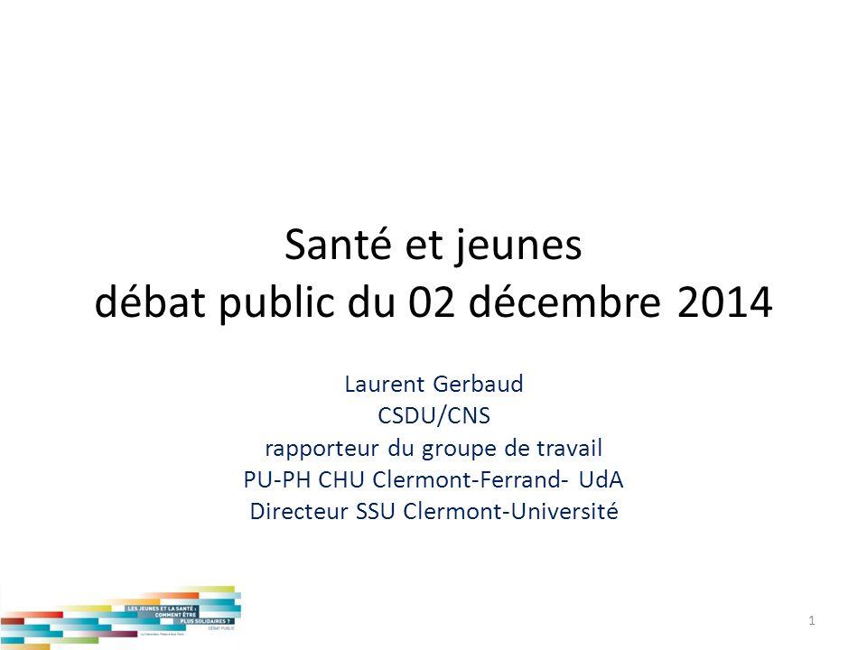 Santé et jeunes débat public du 02 décembre 2014 Laurent Gerbaud CSDU/CNS rapporteur du groupe de travail PU-PH CHU Clermont-Ferrand- UdA Directeur SS