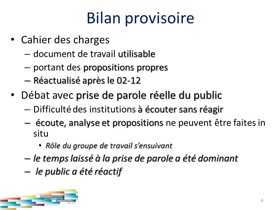 Bilan provisoire Cahier des charges utilisable – document de travail utilisable propositions propres – portant des propositions propres – Réactualisé