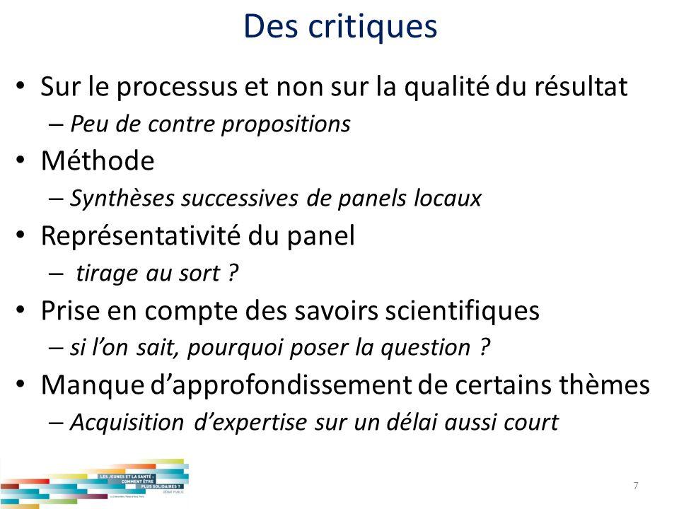 Des critiques Sur le processus et non sur la qualité du résultat – Peu de contre propositions Méthode – Synthèses successives de panels locaux Représe