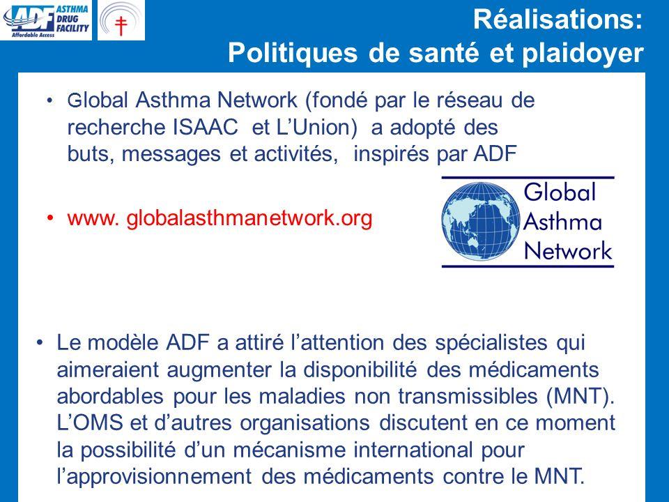 Réalisations: Politiques de santé et plaidoyer Le modèle ADF a attiré lattention des spécialistes qui aimeraient augmenter la disponibilité des médicaments abordables pour les maladies non transmissibles (MNT).