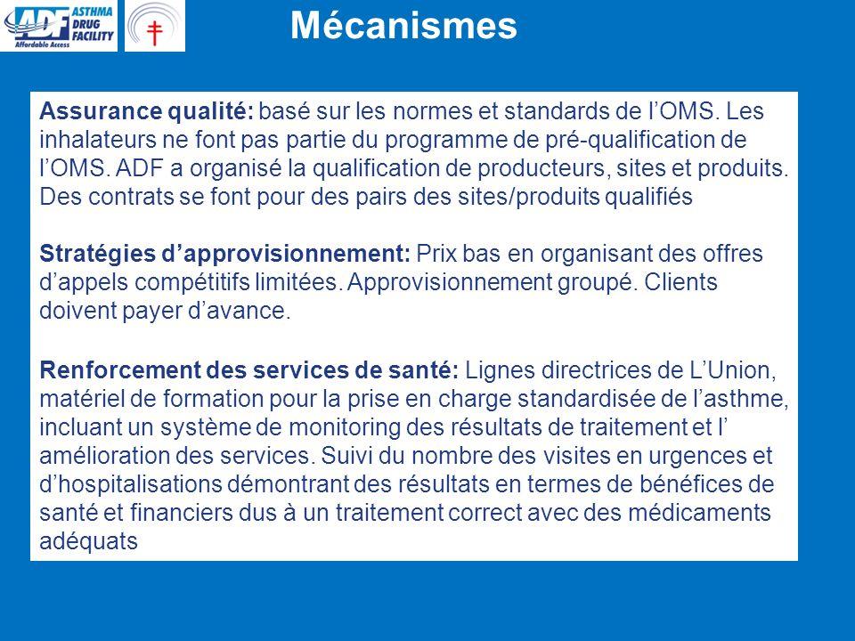 Résultats: Approvisionnements et prix Etablissement dun système efficace dassurance qualité basé sur les normes et standards de lOMS.