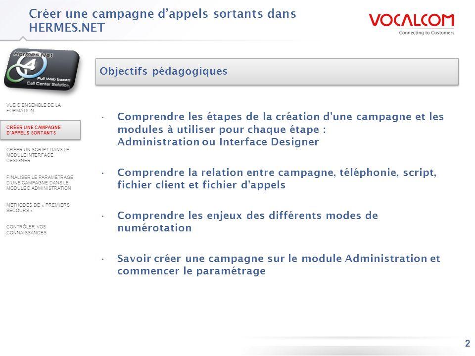 2 Créer une campagne dappels sortants dans HERMES.NET Objectifs pédagogiques Comprendre les étapes de la création d'une campagne et les modules à util