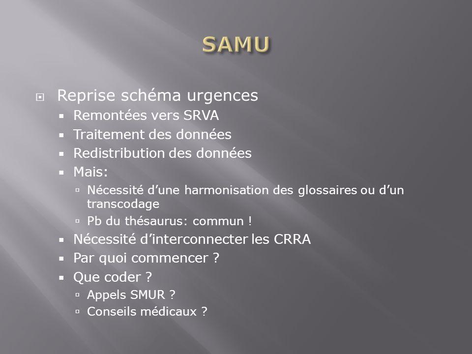 Reprise schéma urgences Remontées vers SRVA Traitement des données Redistribution des données Mais: Nécessité dune harmonisation des glossaires ou dun