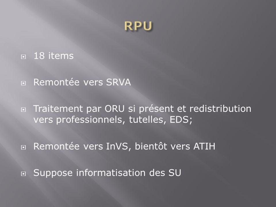18 items Remontée vers SRVA Traitement par ORU si présent et redistribution vers professionnels, tutelles, EDS; Remontée vers InVS, bientôt vers ATIH