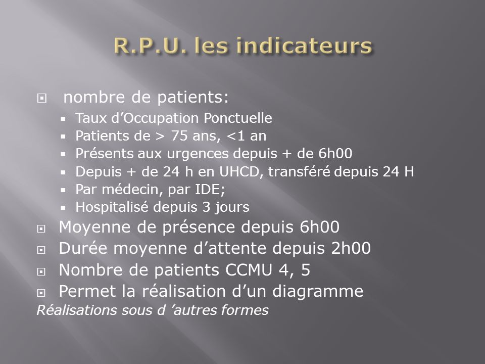 nombre de patients: Taux dOccupation Ponctuelle Patients de > 75 ans, <1 an Présents aux urgences depuis + de 6h00 Depuis + de 24 h en UHCD, transféré