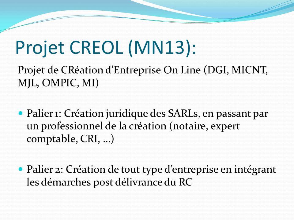 Projet CREOL (MN13): Projet de CRéation dEntreprise On Line (DGI, MICNT, MJL, OMPIC, MI) Palier 1: Création juridique des SARLs, en passant par un pro