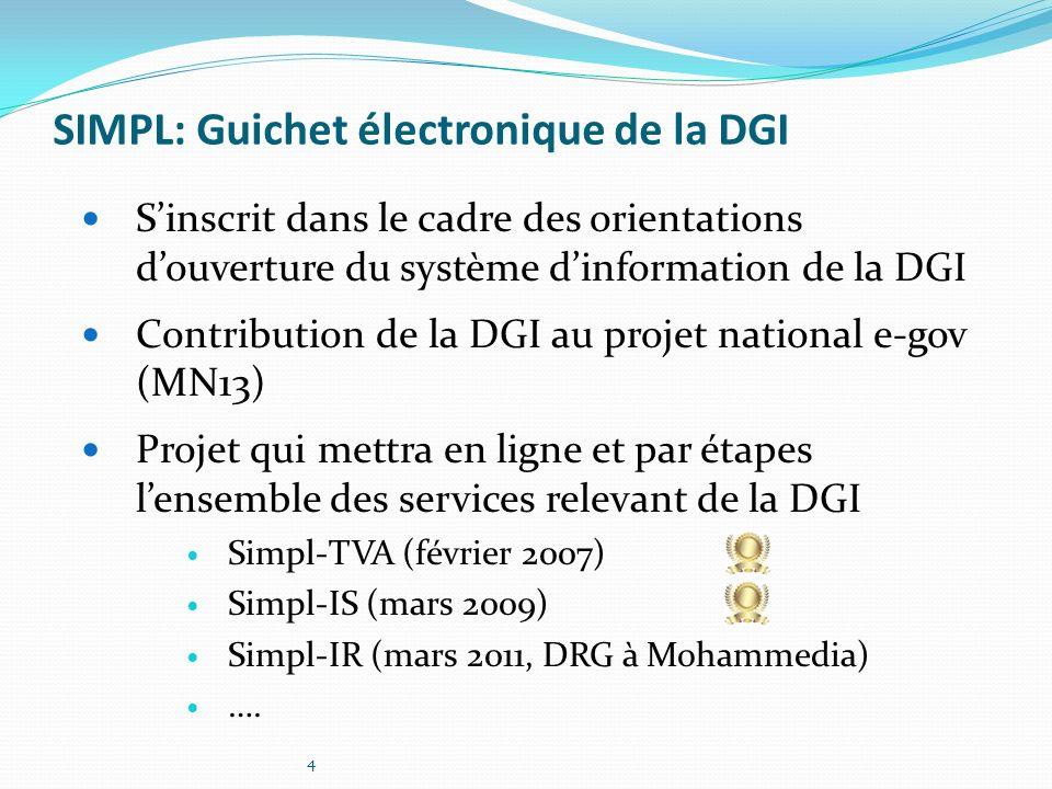 4 SIMPL: Guichet électronique de la DGI Sinscrit dans le cadre des orientations douverture du système dinformation de la DGI Contribution de la DGI au