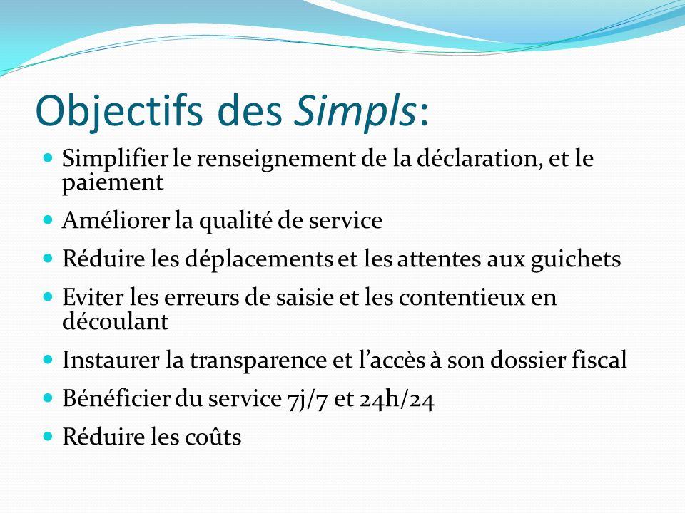Objectifs des Simpls: Simplifier le renseignement de la déclaration, et le paiement Améliorer la qualité de service Réduire les déplacements et les at